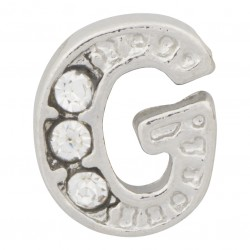 """G"" Letter - Silver with Crystals Floating Charm"