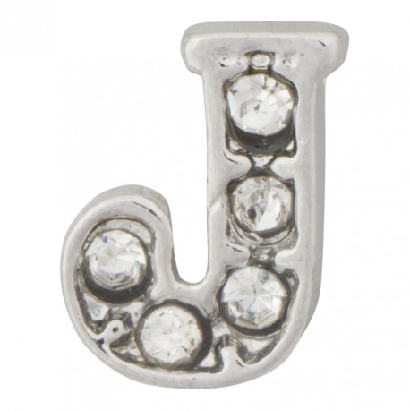 """J"" Letter - Silver with Crystals Floating Charm"