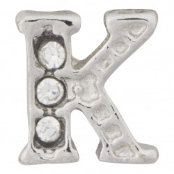 """K"" Letter - Silver with Crystals Floating Charm"
