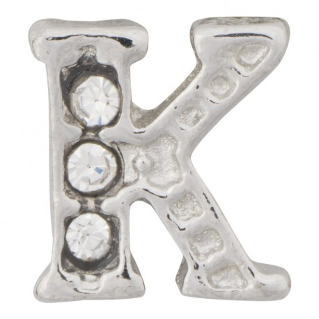 """""""K"""" Letter - Silver with Crystals Floating Charm"""