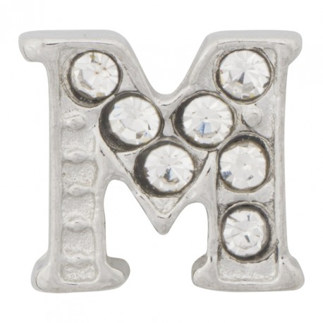 """M"" Letter - Silver with Crystals Floating Charm"