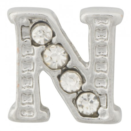 """N"" Letter - Silver with Crystals Floating Charm"