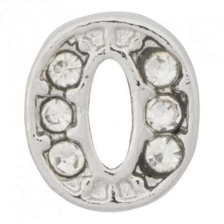 """O"" Letter - Silver with Crystals Floating Charm"