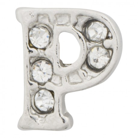 """""""P"""" Letter - Silver with Crystals Floating Charm"""