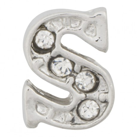 """""""S"""" Letter - Silver with Crystals Floating Charm"""