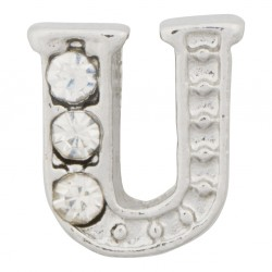 """U"" Letter - Silver with Crystals Floating Charm"