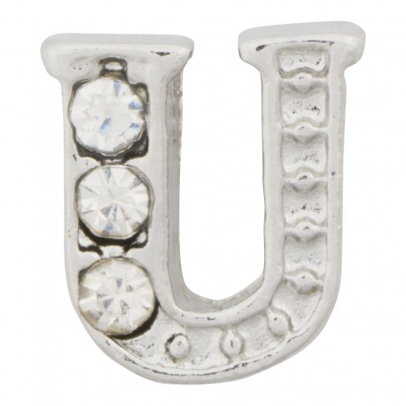 """""""U"""" Letter - Silver with Crystals Floating Charm"""