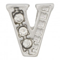 """V"" Letter - Silver with Crystals Floating Charm"