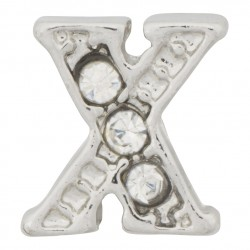 """X"" Letter - Silver with Crystals Floating Charm"