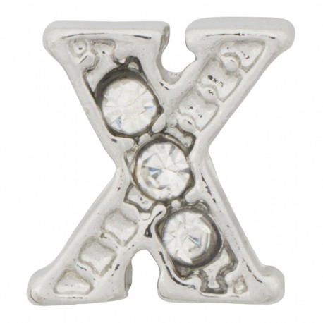 """""""X"""" Letter - Silver with Crystals Floating Charm"""
