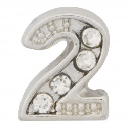 """2"" Number  - Silver with Crystals Floating Charm"