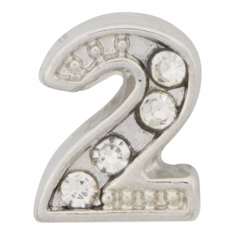"""""""2"""" Number  - Silver with Crystals Floating Charm"""