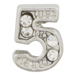 """5"" Number  - Silver with Crystals Floating Charm"