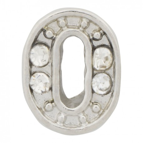 """""""0"""" Number - Silver with Crystals Floating Charm"""