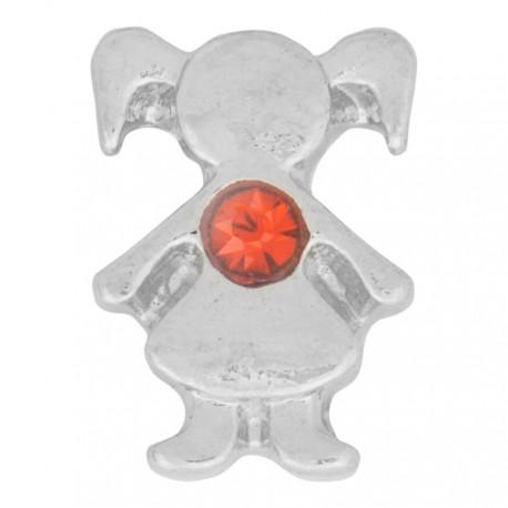 Girl with Garnet Crystal - Birth Stone Floating Charm