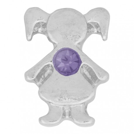 Girl with Amethyst Crystal - Birth Stone Floating Charm