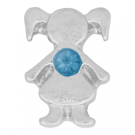 Girl with Aquamarine Crystal - Birth Stone Floating Charm