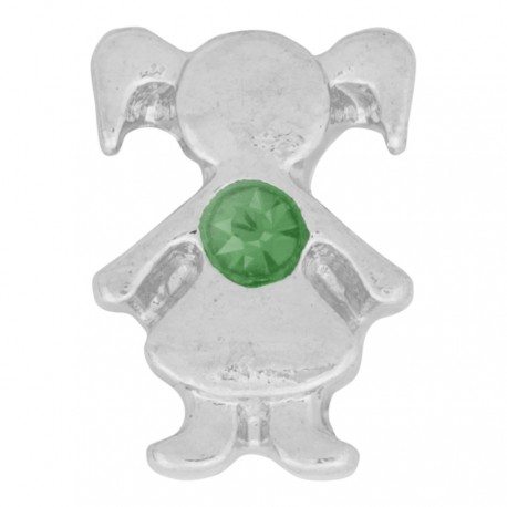Girl with Emerald Crystal - Birth Stone Floating Charm