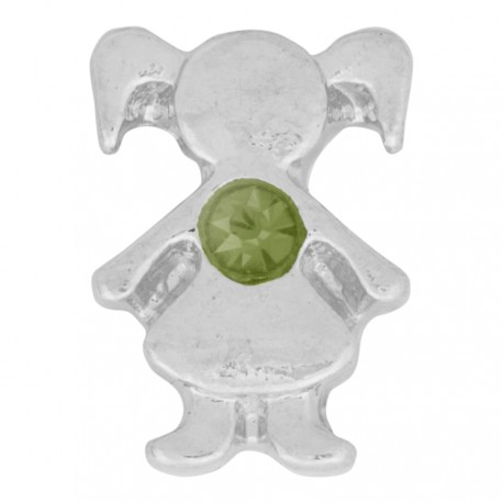 Girl with Peridot Crystal - Birth Stone Floating Charm
