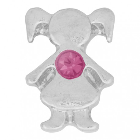 Girl with Pink Crystal - Birth Stone Floating Charm