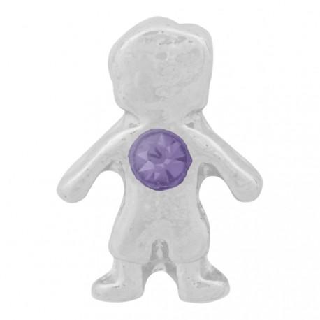 Boy with Amethyst Crystal - Birth Stone Floating Charm