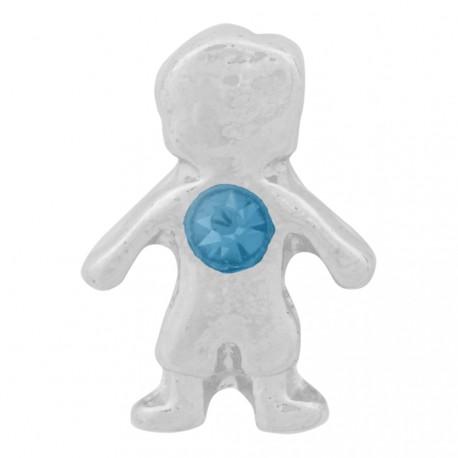 Boy with Aquamarine Crystal - Birth Stone Floating Charm