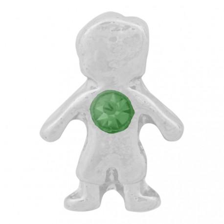 Boy with Emerald Crystal - Birth Stone Floating Charm