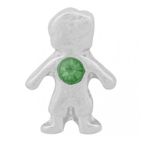 Boy with Emerald Crystal - Birth Stone Floating Charm