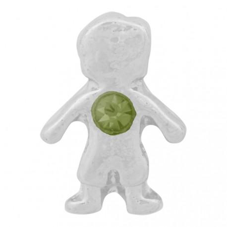 Boy with Peridot Crystal - Birth Stone Floating Charm