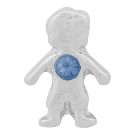 Boy with Sapphire Crystal - Birth Stone Floating Charm
