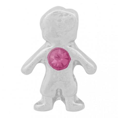 Boy with Pink Crystal - Birth Stone Floating Charm