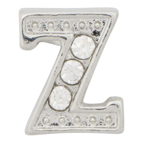 """""""Z"""" Letter - Silver with Crystals Floating Charm"""