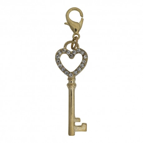 Key Dangle with Heart - Crystals - Gold
