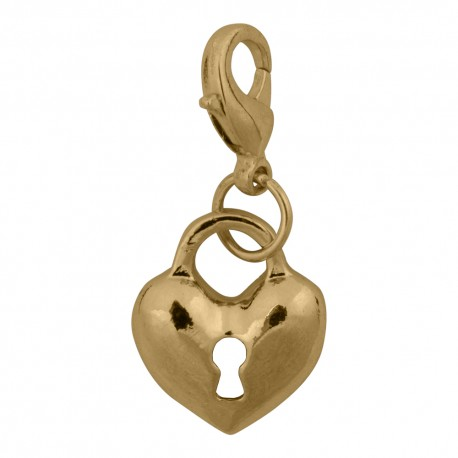 Heart Lock Dangle - Gold