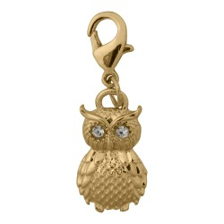 Owl Dangle - Crystals - Gold