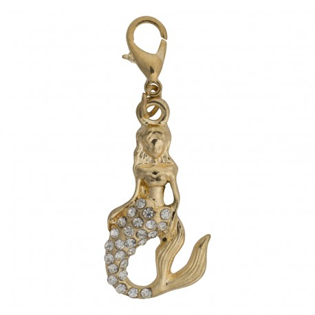 Mermaid Dangle - Crystals - Gold