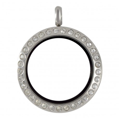 Glass Locket  - Silver w/ Crystals -  Medium