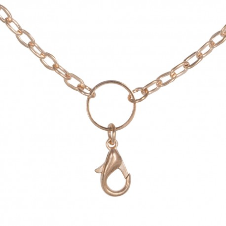 Flat Oval Chain w/ Jump Ring - Rose Gold - 28""