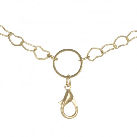 Flat Hearts Chain w/ Jump Ring - Gold - 28""