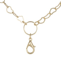 "Flat Hearts Chain w/ Jump Ring - Gold - 28"""