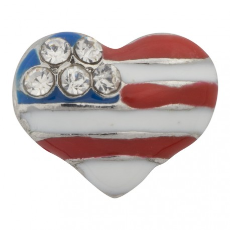 Heart - American Flag Floating Charm