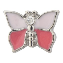 Butterfly - Pink and White Floating Charm
