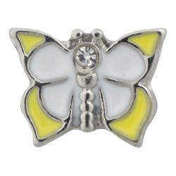 Butterfly - White and Yellow Floating Charm