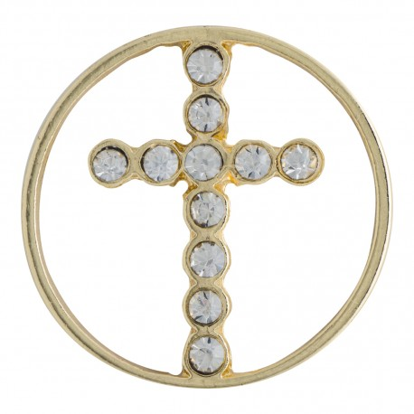 Cross w/ Crystals - Gold - Large