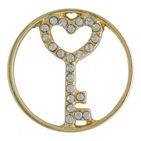 Key to Heart w/ Crystals - Gold - Large