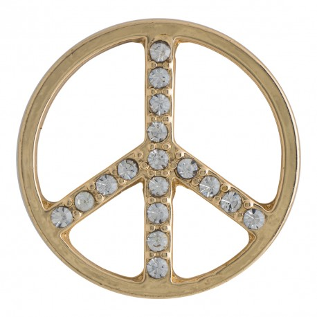 Peace w/ Crystals - Gold - Large