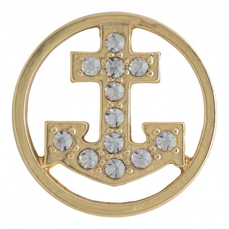Anchor w/ Crystals - Gold - Large