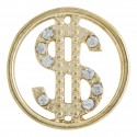 Dollar Sign w/ Crystals - Gold - Large