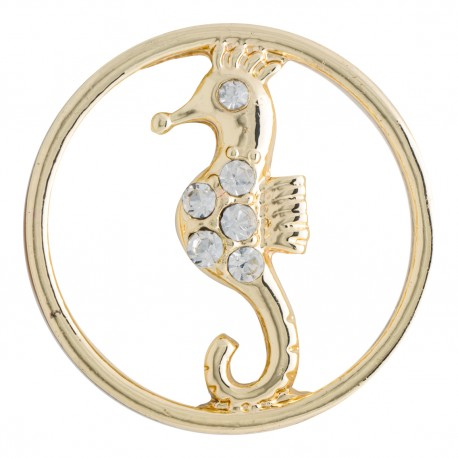 Seahorse w/ Crystals - Gold - Large