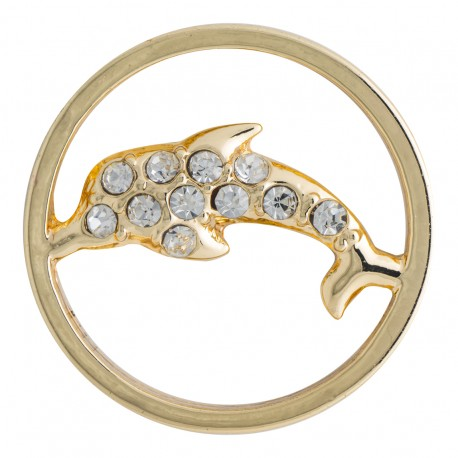 Dolphin w/ Crystals - Gold - Large